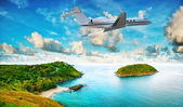 Private jet is leaving tropical resort in the morning. HDR proce — Stock Photo