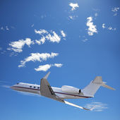 Private jet in flight — Stock Photo