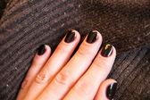 Winter trend dark browm nails — Stock Photo