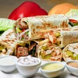 Eastern traditional shawarma plate with sauce - Stok fotoğraf