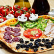 Traditional eastern thin pizza plate arranged with different props — Stock Photo