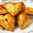 Plate of traditional eastern food samsa — Stock Photo