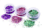 Picture of three different kinds of nail glitters — Stock Photo