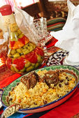 Uzbek national dish - plow — Stock Photo