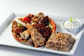 Traditional Arabic mixed barbeque plate — Stock Photo