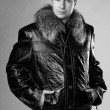 Stock Photo: Studio portrait of male model in leather jacket