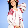 Outdoor portrait of beautiful pregnant Slav woman — Stock Photo