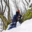 Portrait beautiful red haired woman in winter forest - Stock Photo