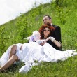 Wedding picture of European couple with red haired bride — Stock fotografie