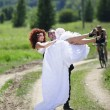 Wedding picture of European couple with red haired bride — 图库照片