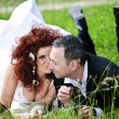 Wedding picture of European couple with red haired bride — Photo