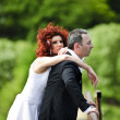 Wedding picture of European couple with red haired bride — ストック写真