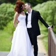 Wedding picture of European couple with red haired bride — Stockfoto