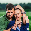 Yang European couple posing outdoor — Stock Photo