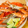 Plate of red boiled crabs — Stock Photo
