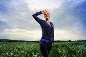 Portrait of yang beautiful European woman outdoor — Stock Photo