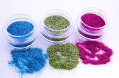 Picture of three different kinds of nail glitters — Stok fotoğraf