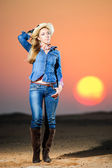 Portrait of beautiful country girl in front of red sunset — Stock Photo