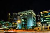 DUBAI -DECEMBER 07:The Gate - main building of Dubai International Financial center, the fastest growing international financial center in Middle East. 07 December 2013 , Dubai, UAE. — Stock Photo