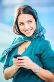 Yang beautiful European woman poses outdoor — Stock Photo