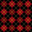 Argyle Pattern in Black and Red with a Yellow Stripe - Stockvektor