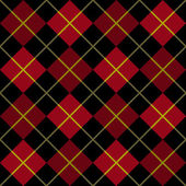 Argyle Pattern in Black and Red with a Yellow Stripe — Stock Vector
