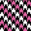 CatsTooth Pattern in Magenta, Black and white. - Stock Vector