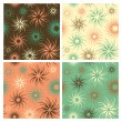 Fire Flower Pattern in Orange, Green and Brown — Stock Vector