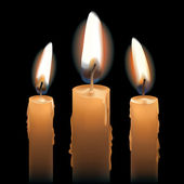 Three Lit Candles — Stockvector