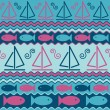 Sailboats and Fish Pattern — Stock Vector