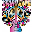 Peace-Love-Music in Pink and Blue — Stock Vector #24450115