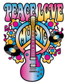 Peace-Love-Music in Pink and Blue — Stock Vector