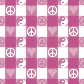 Peace Plaid in Pink — Stock Vector