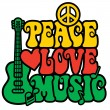 Reggae Peace-Love-Music — Stock Vector