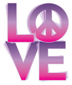 LOVE-Peace in a Pink-Purple Gradient — Stock Vector