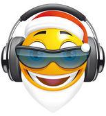 Emoticon Santa DJ — Stock Photo