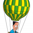 Businessman flying in balloon — Stock Photo