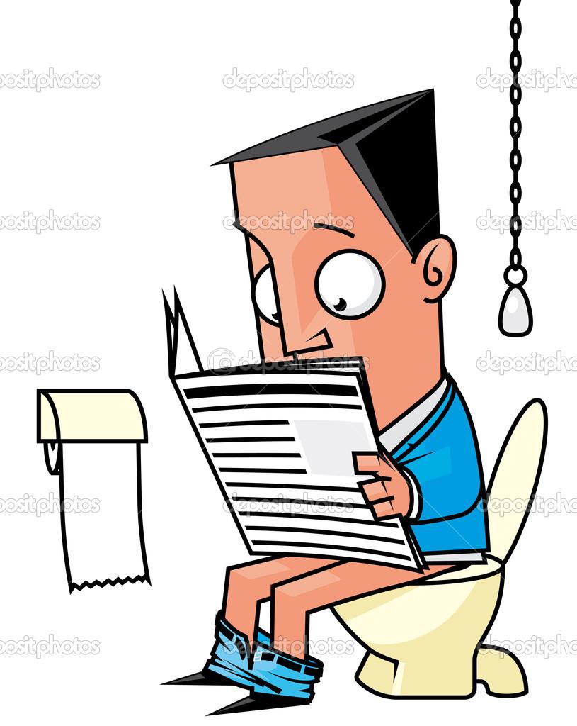 Imagenes De Baño Diario:empresario leyendo un periódico en el baño – Imagen de stock