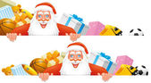 Santa and gifts banner — Zdjęcie stockowe
