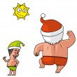 Santa and elves beach holiday — Stock Photo