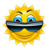 Sun character with sunglasses — Stock Photo