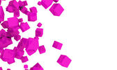 Tumbling magenta 3d cubes — Stock Photo
