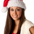 Beautiful girl dressed like Santa — Stock Photo #12652042