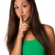 Portrait of attractive young woman calling for silence.? — Stock Photo #12653536