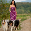 Young womtaking two collies on walk — Stock Photo #13173525