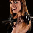 Young fit girl working out with weights - Portrait of pretty you — Stock Photo #15685011
