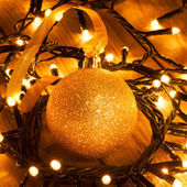 Christmas ornaments - golden bauble — Stock Photo