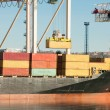 Cargo sea port. Sea cargo cranes. Sea. — Stock Photo