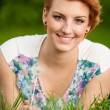 Outdoor portrait of attractive young brunette — Foto de Stock