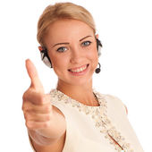 Success - Beautiful young woman showing thump up — Stock Photo